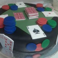 Father's Day Poker Cake  I made this cake for my father and brothers as they LOVE to play poker. Cake is butter cake w/buttercream icing. Cake is covered in fondant...