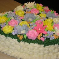 Floral Garden Basketweave Birthday Cake   Heart-shaped, butter cake w/bc icing. Basketweave design with grass and assorted royal icing and buttercream flowers.
