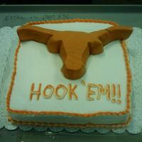 Ut Longhorn Birthday Cake butter pecan cake w/cream cheese icing. the longhorn is made out of fondant.