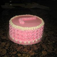 Pink Floral Birthday Cake  This is a cake i made for a co-workers wife. It is a chocolate cake with regular buttercream icing. The cake tasted like an oreo! Yum! I...
