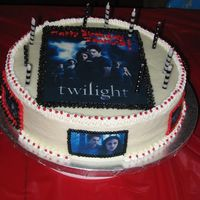 Twilight Birthday Cake I made this cake for my 10yr old's bday party. Twilight Birthday cake with some images from the movie. A chocolate cake with...