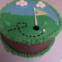Golf Cake   Chocolate cake w/chocolate buttercream icing. Most of the details are fondant.