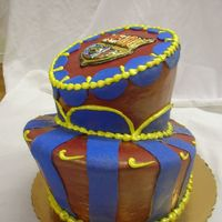 Team Barcelona Cake Barcelona-themed cake I did for my husband's 29th birthday; he's a big fan of barcelona and very into soccer (he's Bulgarian...