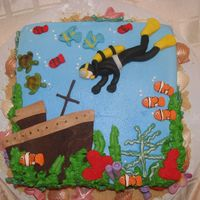 Scuba Diving Cake  I made this cake for a scuba instructor. She was very pleased! thank goodness! I handmade everything on the cake! TFL ....I got alot of...