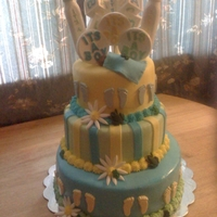Yellow, Blue & Green Baby Shower Cake Three Tier babyshower cake everything edible! Hand made chocolate suckers on top!!Little green frogs sit on the border covered in MMF!...