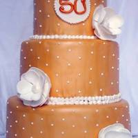 Gold & White 50Th Anniversary Cake