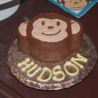 "Monkey Smash Cake Cake to go with ""Mod Monkey"" birthday cake. Head is a 4"" cake with cupcakes cut in half and stacked on each other for the..."