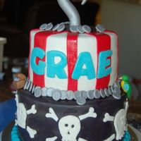 Pirate Cake Chocolate cake with caramel filling covered in MMF. Hook, coins, parrot and treasure chest are gumpaste. Thanks to Keetie for great...