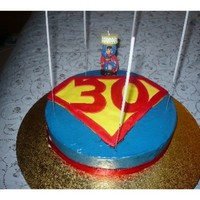 Super Man 30Th Cake made for my hubby's 30th, chocolate cake with white chocolate ganache coloured blue, the symbol was made of fondant, but the colours...