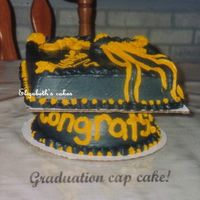 Graduation Cap Cake This was my DH graduation cake. The bottom was made from a small metal mixing bowl & the mortar was an 8in square cake. I saw it in a...