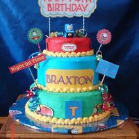 Thomas The Train Birthday buttercream, scrapbooking supplies, toy, ribbon