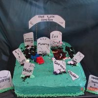 50Th Birthday Cake We did this for a double 50th birthday. It's really hard to see the two people climbing out of the grave (inspiration from several...
