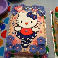 Hello Kitty Ballerina I made this cake for my daughter's 4th birthday. Hello kitty is made with color flow icing. and fondant flowers
