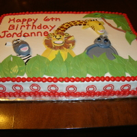 Madagascar Cake Iced butter cream with fondant animals and leaves