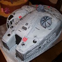 Millenium Falcom Star Wars Millenium Falcon. We carved the from a 1/2 sheet, iced it with buttercream and then piped the lines/detail. There are a few...