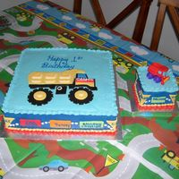 Carson's 1St B-Day! I made these cakes for my grandson Carson's 1st B-day. They were made to match the Tonka party theme. Iced in buttercream with fondant...