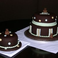 "Loukas' Baptism Cake 6"", 8"" and 10"" chocolate cakes with chocolate fondant. Bears are fondant/gumpate. I had not made a cake since November so I..."