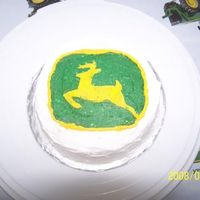 "John Deere My nephew's ""personal"", tear into, first birthday cake. It is a white cake with buttercream icing. I freehanded the outline..."