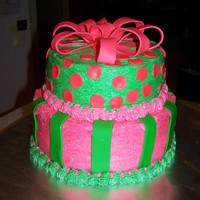 Pink & Green Cake This is a cake I made for a little girl's 8th birthday. She wanted a 2 tier pink and green cake with stripes and polka dots. The cake...