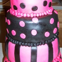 Pink And Black 4 Tiered This is a cake my friend's daughter designed for her mom's 50th birthday as a surprise. It's all MMF.