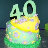 40Th Birthday This is a cake I made for my friend's surprise 40th birthday. It's a yellow cake covered in fondant with fondant accents and a...