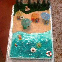 Beach Party  Buttercream with piping gel water, vanilla wafter sand and piped grass. Trees are plastic. Used teddy grahams and put swim suits on them...
