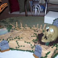 Halloween Cake the skeleton wasanimated (cackled & eyes lite up) swamp glowed and smoked