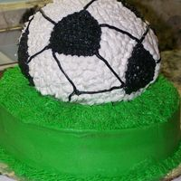 Soccer Ball Cake made on vacation for friend's 12 yr old boy.