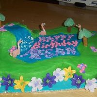"Megan's Cake This was a fun cake for me. I made color-flo flamingos, their necks broke I had to ""glue"" them together. The tree's are..."
