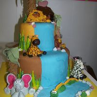 Baby Safari it was a WASC cake with indidebi's BC and MMF . all the guys are fondant and the trees are the plastic tube supports covered in MMF...