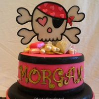 Pink Pirate Morgan  The topper is made from all gumpaste and luster dusts and disco dusts on popsicle sticks. That outlining was a real pain! The jewels and...