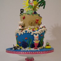 Hello Kitty And Friends  My first TT, filled with BC, ganched and home made fondant.Gum paste figures: Hello Kitty, twin sister Mimmy(snorkeling), My Melodie as a...