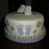 Baby Shower Button Cake   Another version of the baby shower cake with converse shoes in lieu of the baby booties.