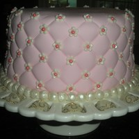 Quilted Cake   Fondant covered cake with mini flowers and pink dragees