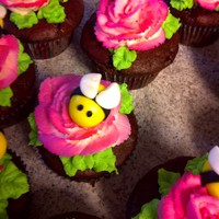 Kylie's Bumble Bee Garden I made these cupcakes for my daughter's school birthday celebration. Bees are fondant . Roses are air brushed buttercream.