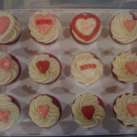 Valentines Day Cupcakes decorated with candy melts for vday.