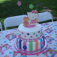 Hello Kitty Themed Birthday Cake I had lots of fun making this cake for my friend's daughter. The topper is an edible cake image. TFL!