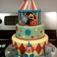 Circus Themed Cake All gumpaste figurines. Big top is made of RCT. Thanks for looking. I'm super proud of this cake. It took so long, but so worth it.