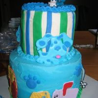 Blues Clues chocolate and vanilla (swirled shades of blue ala macsmom style!). cookies and cream filling- big hit!!