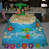 Tropical Engagement Cake  Strawberry SHortcake with whipped cream icing. Decorations are fondant and gumpaste. Lots of fun, not exactly my vision, but I'm still...