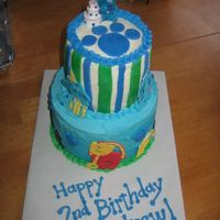 Blue's Clues modified WASC recipe for a chocolate cake and a white cake (using macsmom's rainbowlicious idea and swirling multiple blue shades),...