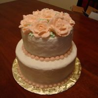 Peach Rose Wedding Cake First tiered wedding cake... Did'nt come out as great as id hoped but not bad !