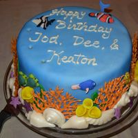 A Little Bit Of Sea fondant covered and sea creatures, white chocolate coral