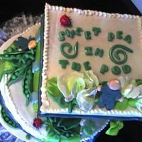 Sweet Pea In A Pod Top view, stacked cake. Covered in Fondant, and sugar paste box top.