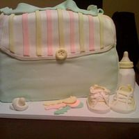 Diaper Bag Cake Bag is 2 cakes stacked, chocolate cake with raspberry filling & top is lemon cake with vanilla bean buttercream. All accents are...