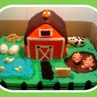 Farm Cake Barn is red velvet cake, farm is a vanilla sheet cake. All fondant animals. Had so much fun making this cake! as always thanks to all the...