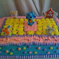 "Blues Clues Made for a little girl who loves Blues Clues. Vanilla 12x 18"" cake, pineapple filling, all buttercream. TFL."