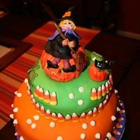 My Cutie Witch, Halloween Cake 2008 This cake is for my children's school, Halloween Party.Butter pecan cakes with glaze of rum, chocolate mousse filling, vanilla french...
