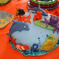 Happy Life In The Ocean, Fernando's 5Th Birthday Vanilla and Chocolate cake with blue buttercream icing filling and cover and decorate wihth animals of the ocean with fondant flavored with...