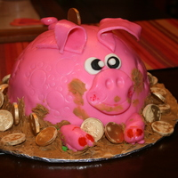 My Piggy Bank I made this cake for a pork roast party at the childrens school, usually this partys are with the intention of collect money, so I made it...